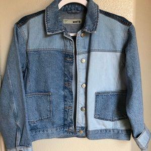 Topshop colorblocked denim jacket.